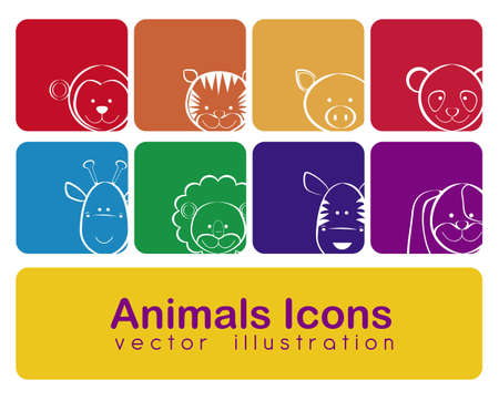 Illustration of animal icons illustration of giraffe, zebra, monkey,  panda, tiger, pig, dog, lion.  Vector