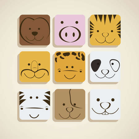 wildlife smile: Illustration of animal icons illustration of giraffe, zebra, monkey,  panda, tiger, pig, dog, lion, rabbit. vector illustration