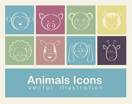 Illustration of animal icons illustration of giraffe, zebra, monkey,  panda, tiger, pig, dog, lion.  Stock Vector - 16126063