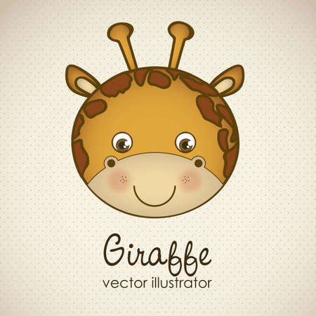 Illustration of animal icons illustration of giraffe.  Vector