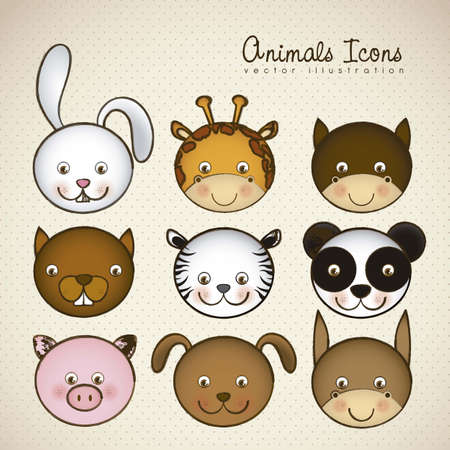 Illustration of animal icons illustration of giraffe, rabbit, squirrel, horse, mule, panda, tiger, pig, dog.  Vector