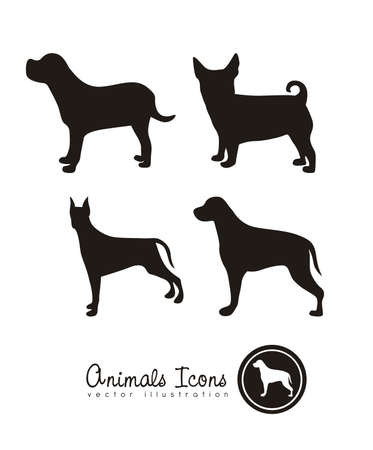 pet collar: Illustration of animal icons, icons with animal silhouettes. vector illustration