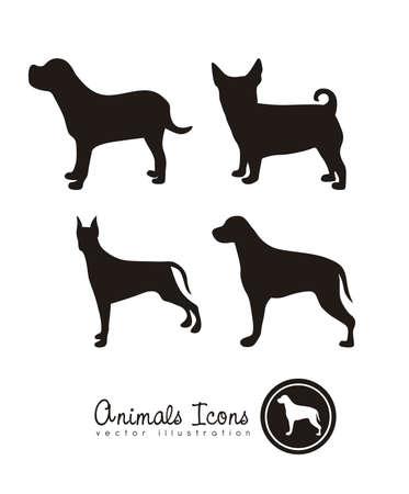 huellas de perro: Ilustraci�n de iconos de animales, iconos con siluetas de animales. ilustraci�n vectorial