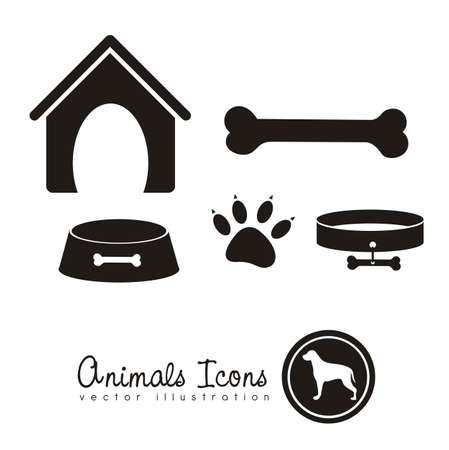 pet collar: Illustration of animal icons, icons with animal silhouettes.  Illustration