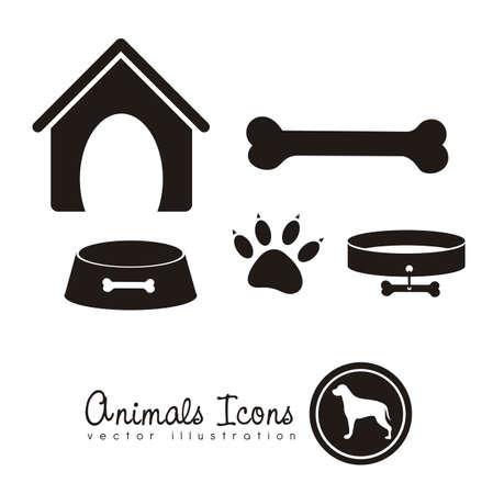 collarin: Ilustraci�n de iconos de animales, iconos con siluetas de animales.