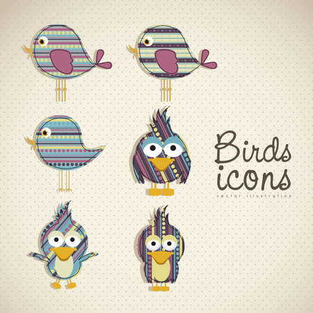 childishness: Illustration of birds icons, icons with animal silhouettes.