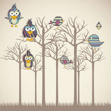 cute owl: Illustration of birds icons, icons with animal silhouettes.