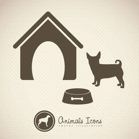 huellas de perro: Ilustraci�n de iconos de animales, iconos con siluetas de animales.