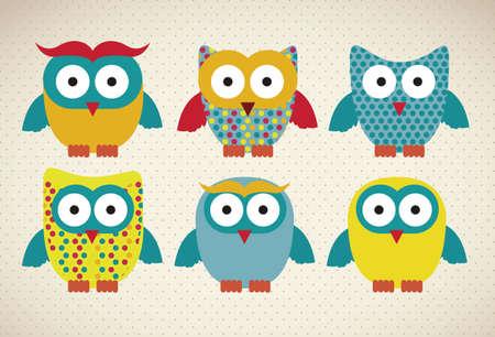 sowa: Ilustracja ptaków ikon, ikony z sylwetkami zwierząt. Ilustracja