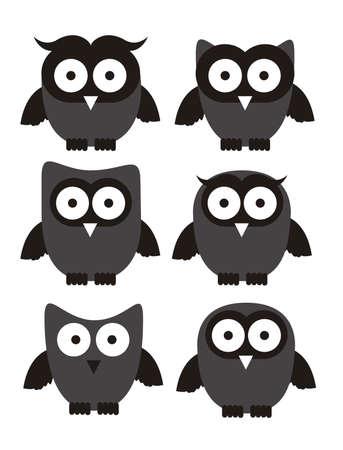 sowa: Ilustracja ptaków ikon, ikony z sylwetkami zwierząt. ilustracji wektorowych Ilustracja