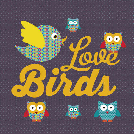 Illustration of birds icons, icons with animal silhouettes.  Vector