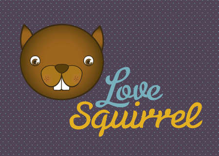 Illustration of animal icons, love squirrel.  Stock Vector - 16126165