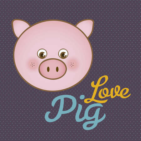 Illustration of animal icons, love pig. Stock Vector - 16126187