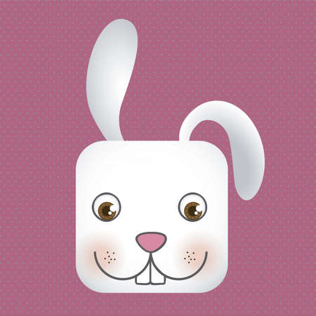 Animal icon, square head rabbit with dotted background, vector illustration Vector
