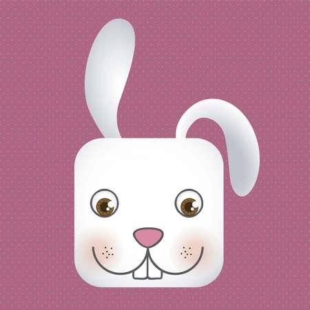 Tier-Symbol, quadratischen Kopf Kaninchen mit gepunkteten Hintergrund, Vektor-Illustration Vektorgrafik