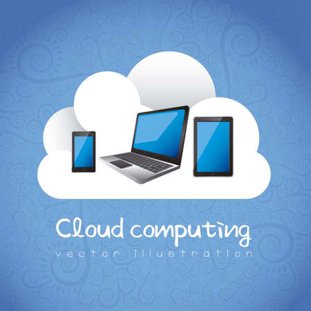 Cloud computing concept. A cloud with electronic equipment, vector illustration Vector