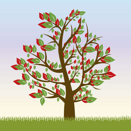 Illustration of tree with green leaves and red, spring season, vector illustration Stock Vector - 16183874