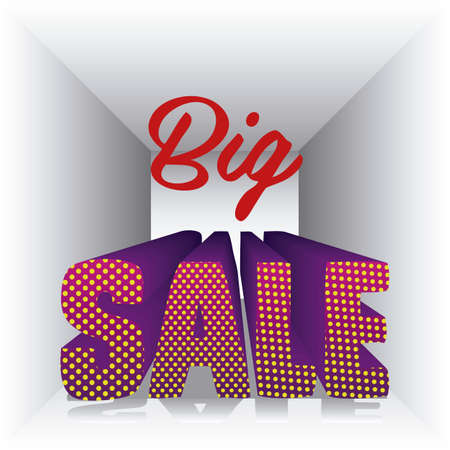perpective: illustration of sale labels, with colorful 3D letters, vector illustration