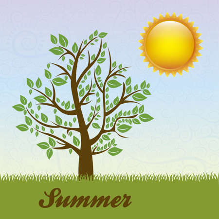 Season Icon. Season cloud, with sun and tree, vector illustration Vector