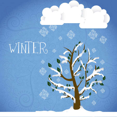Season Icon. Season cloud, with  snowflakes and tree, vector illustration Stock Vector - 16184686
