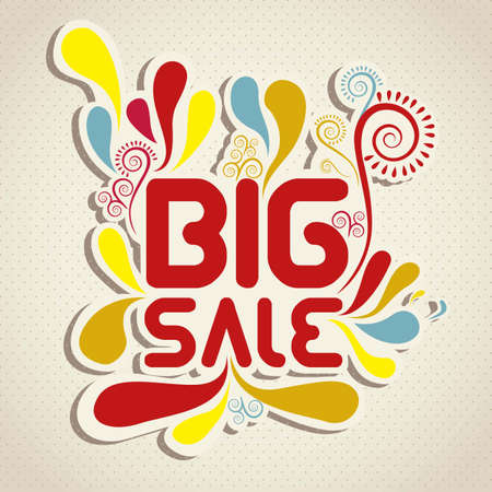 perpective: illustration of sale label, with colorful drops, vector illustration