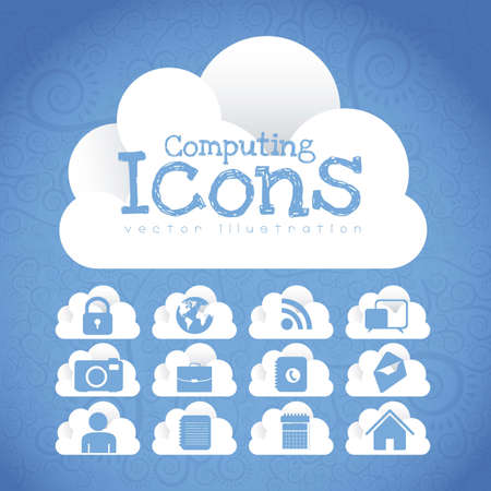 Cloud Icons. Cloud Internet, telecommunications and networks wirh icons, vector illustration Stock Vector - 16184672