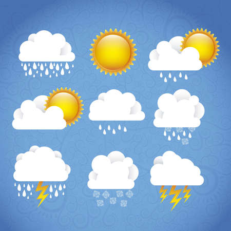 Season Icons. Season cloud, with sun, rain, snowflakes, lightning, vector illustration Stock Vector - 16184680