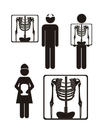 pictogram man: Illustration of Life icons, x-ray symbol, vector illustration