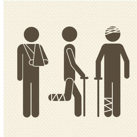 Illustration of Life icons. Person plastered, vector illustration Vector
