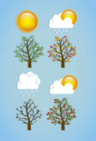 season icons. Season cloud, with sun, rain and trees. vector illustration Vector
