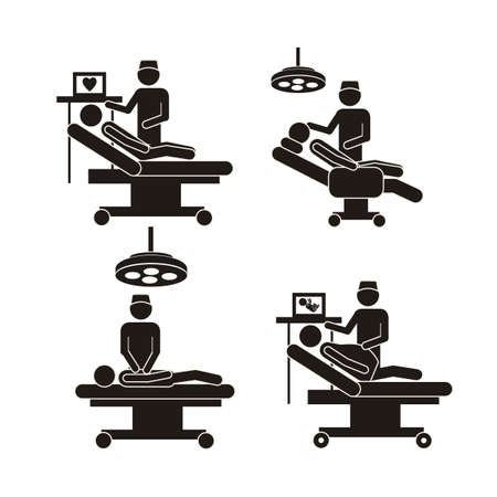 life support: Illustration of Life icons, operating table and dentist, vector illustration