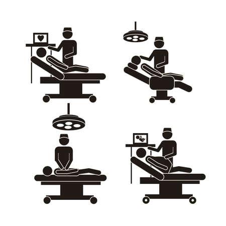signos vitales: Ilustración de los iconos de la vida, mesa de operaciones y el dentista, ilustración vectorial Vectores
