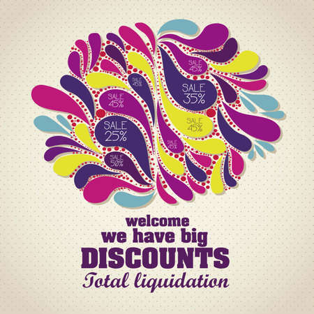 closeout: illustration of sale label, with colorful drops, vector illustration