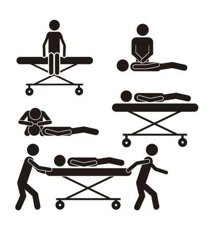hilfsmittel: Illustration of Life Symbole, die Menschen auf Tragbahren, Vektor-Illustration