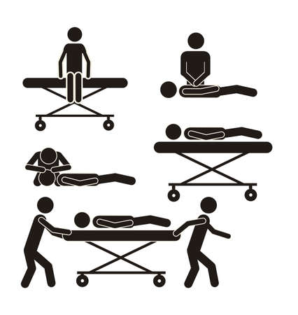 signos vitales: Ilustración de los iconos de la vida, la gente en camillas, ilustración vectorial