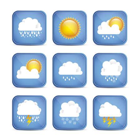 partly: Season Icons. Season cloud, with sun, rain, snowflakes, lightning, vector illustration