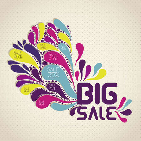 price reduction: illustration of sale label, with colorful drops, vector illustration