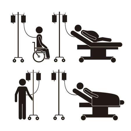 hospitalized: Illustration of Life icons, hospitalized with serum, vector illustration