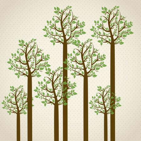 hoog gras: Bomen seizoen, in groene kleuren. Zomerseizoen. vector illustratie