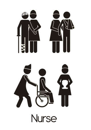 first help: Illustration of Life icons, nurse doing her job, vector illustration
