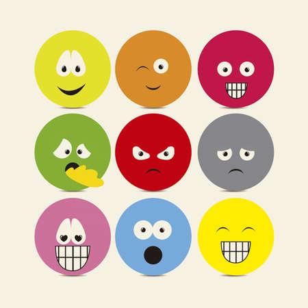 expresiones faciales: Ilustraci�n de los iconos con expresiones, gestos diferentes, ilustraci�n vectorial