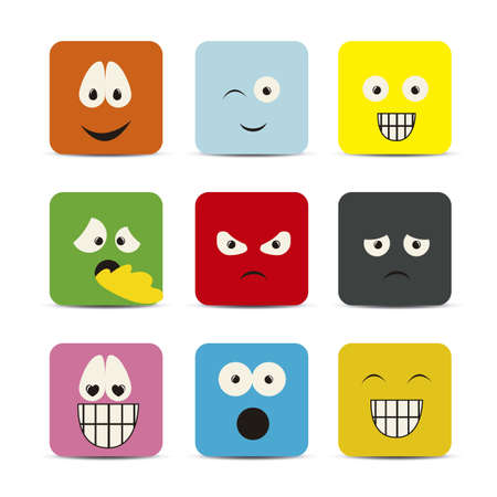 Illustration of expressions icons, with different gestures, vector illustration Vector