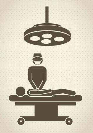 operating room: Ilustraci�n de los iconos de la vida, quir�fano, ilustraci�n vectorial
