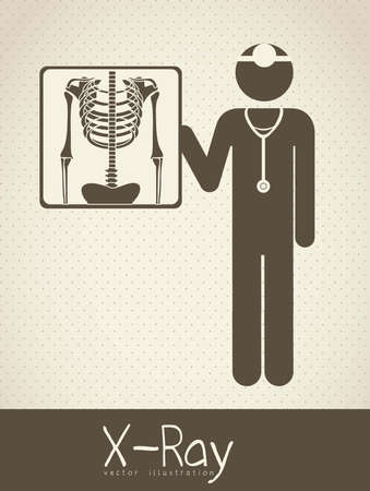 radiography: Illustration of Life icons, chest radiography, vector illustration