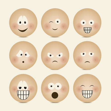 Illustration of expressions icons, with different gestures, vector illustration Stock Vector - 16184379