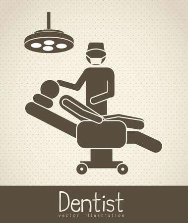signos vitales: Ilustraci�n de los iconos de la vida, y la silla del dentista, ilustraci�n vectorial