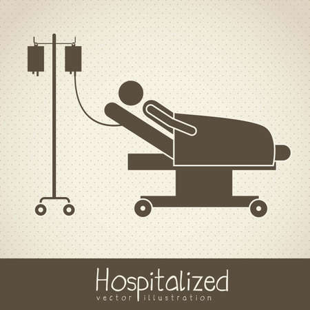 Illustration of Life icons, hospitalized with serum, vector illustration Vector