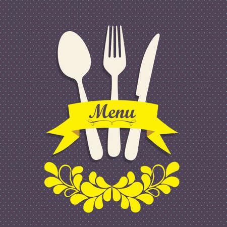 Illustration of Menu retro. Vintage restaurant menu, vector illustration Vector