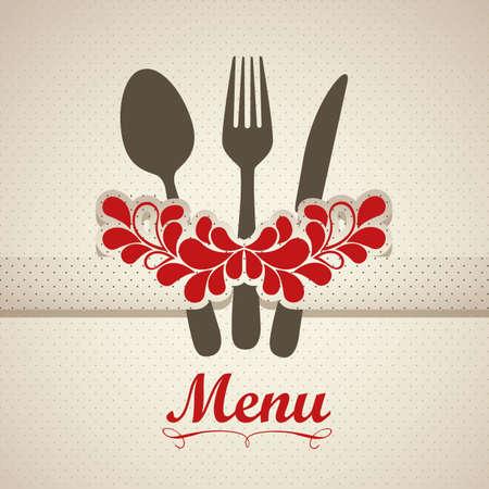holiday food: Illustration of Menu retro. Vintage restaurant menu, vector illustration Illustration