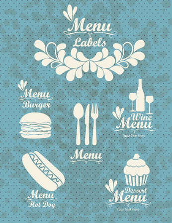 Illustration of Menu retro. Vintage menu labels, vector illustration Vector